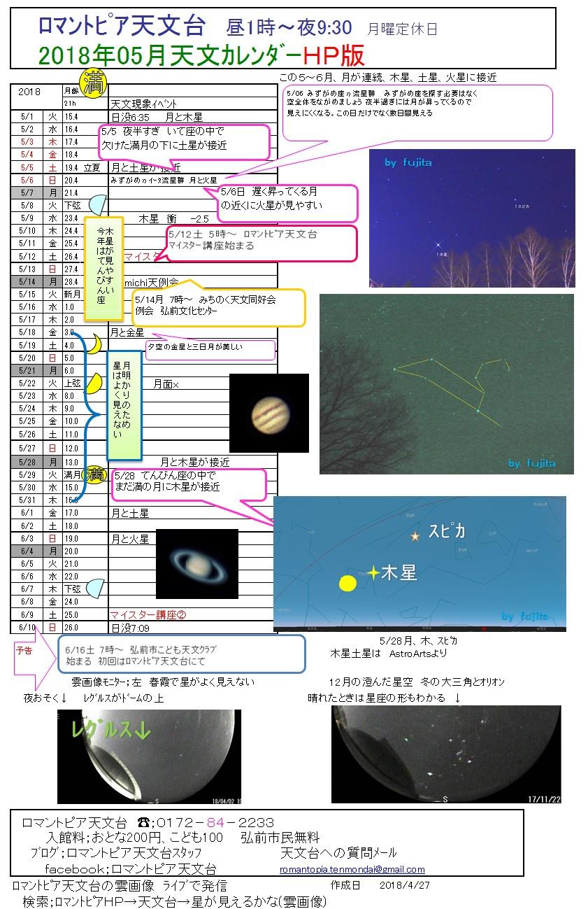 星と森のロマントピア 天文台「銀河」天文カレンダー 2018年5月