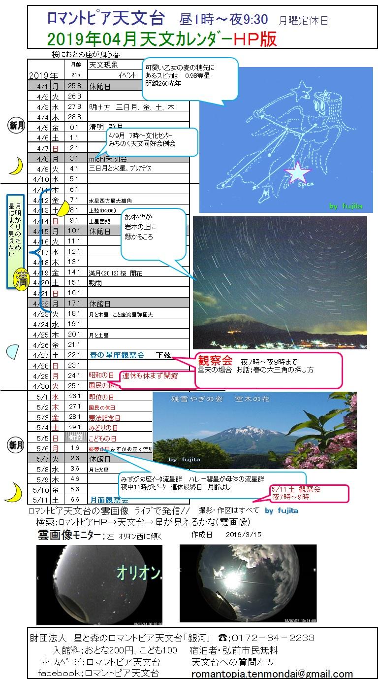 2019年4月 天文カレンダー