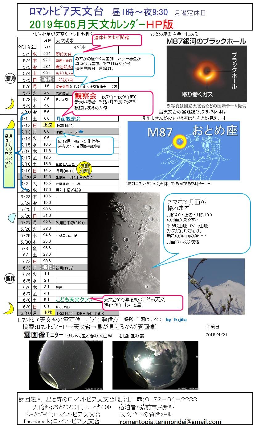 2019年5月 天文カレンダー