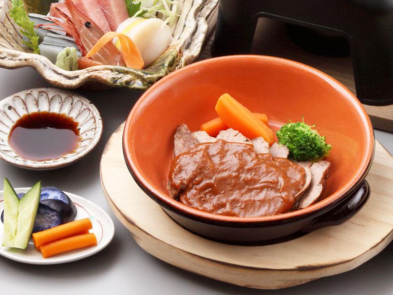 牛タン柔らか煮&鮑釜飯宿泊プラン
