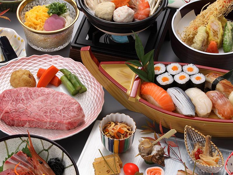 黒毛和牛ステーキ&にぎり寿司付き宿泊プラン